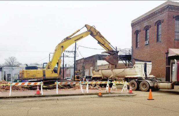 Downtown buildings come down
